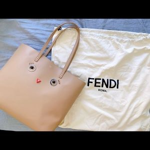 Fendi Hypnoteyes Roll Leather Face Tote